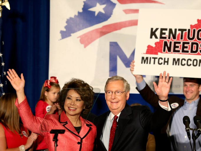 Mitch McConnell is seen speaking at the Louisville Marriott East Hotel  after winning the U.S. Senate Republican primary.  May 20, 2014