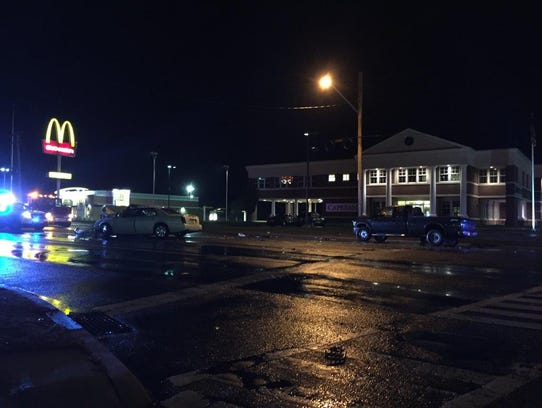 Two people were reported injured, one critically, after