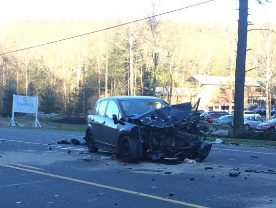 A Nissan Versa was involved in Monday's crash on Route