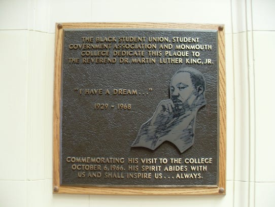 A plaque in Wilson Hall commemorating Martin Luther