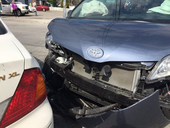 Two vehicles were damaged Friday after colliding at