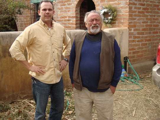 Christopher Walton (left) and writer Jim Harrison during