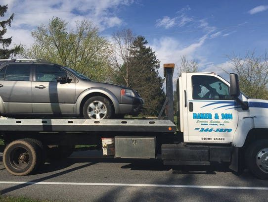 An SUV was towed from the scene of a crash in Windsor