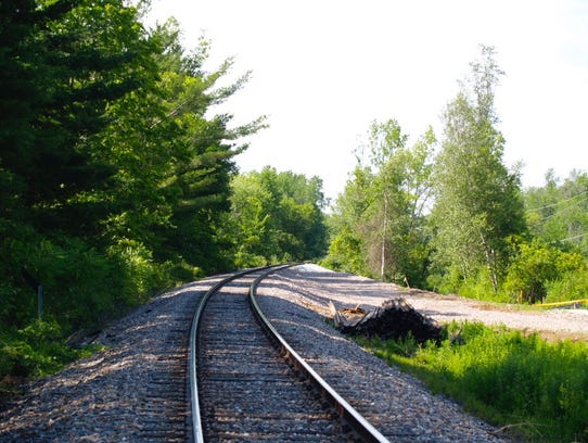 Track to Vermont Rail salt shed site in Shelburne,