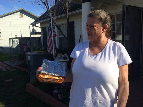 Roxanne Logue, 54, was welcomed home to Oroville with