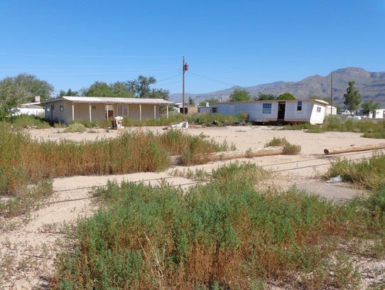 A dilapidated mobile home in the Boles Acres area.