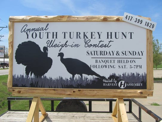 The sign letting young turkey hunters that this is