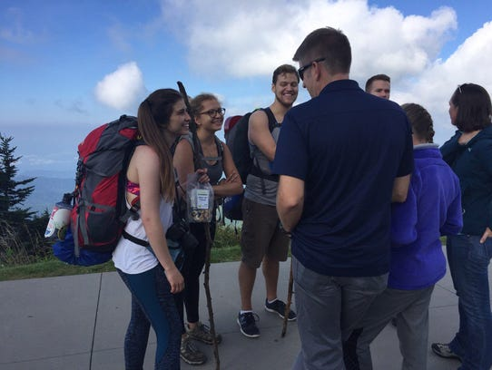 Hikers at the Clingman's Dome eclipse party drove from