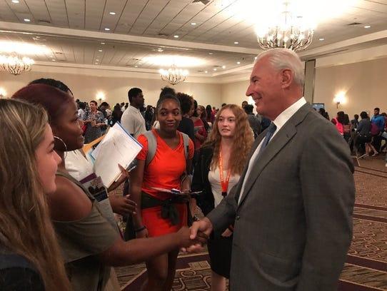 Wilmington Mayor Mike Purzycki talks to high school