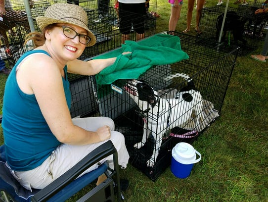 Animal rights activist Pam Sordyl at an adoption event