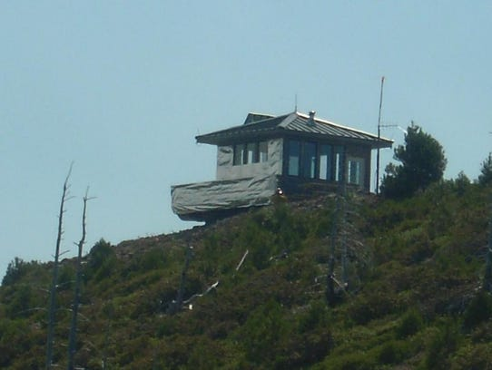 Snow Camp Lookout is wrapped in fire-retardant material