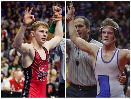 Fort Dodge's Brody Teske (left) and Underwood's Alex Thomsen are each seeking to cap their high school wrestling careers with their fourth state championships.
