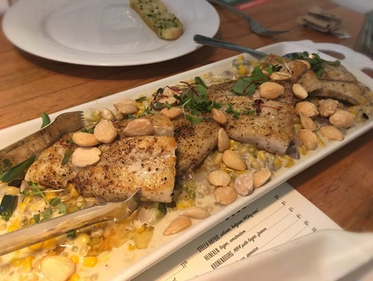 Barramundi with Tennessee succotash at Beauty Shop.