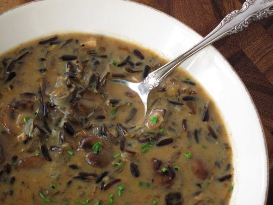 Super Savory Wild Rice and Mushroom Soup has both shiitake
