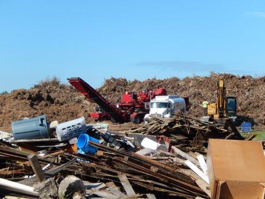 The Cape Coral site where Hurricane Irma debris was