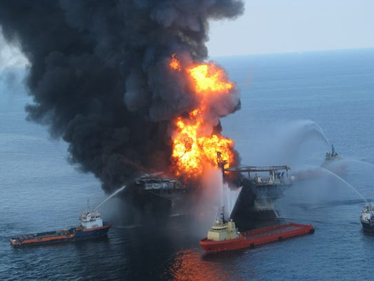 Fire boat crews battle the blazing remnants of Deepwater