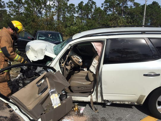 One of the three vehicles involved in an accident in