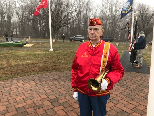 Jim O'Neill from Congers is set to play taps for the burial of Jerry Donnellan's burial at Frederick Loescher Veterans Memorial Cemetery in Spring Valley on March 29, 2018. Donnellan was Rockland County's commissioner of veterans affairs for 26 years.
