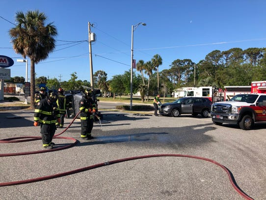 Titusville Fire Department responds to rollover crash.