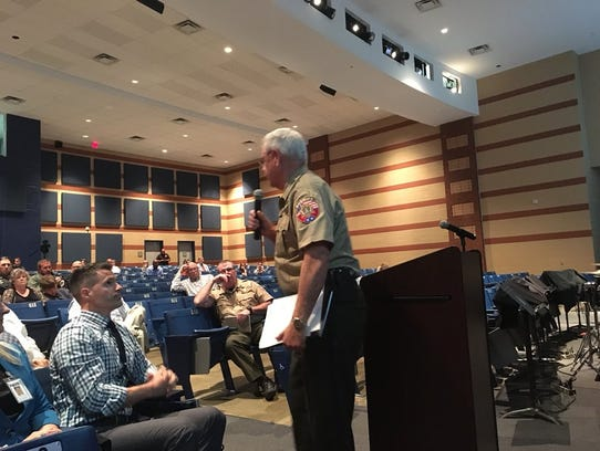 Rutherford County Sheriff Mike FItzhugh addresses the