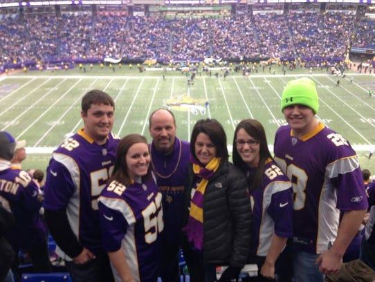 The Banwart family attending a Minnesota Vikings game.
