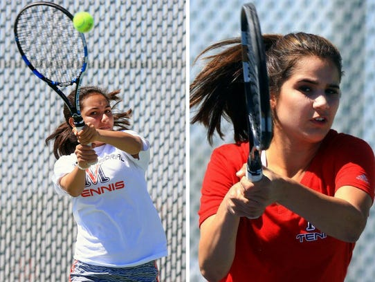 Veterans Memorial tennis players Hailey Rios, left