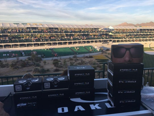 Virtual-reality headsets at TPC Scottsdale.