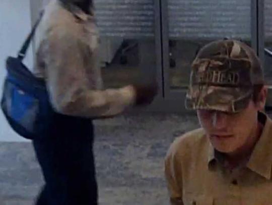 "This bank surveillance photo shows the ""Shaky Bandit,"" authorities said."