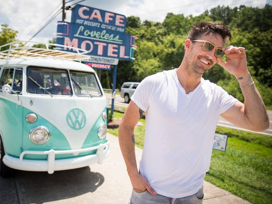 Jake Owen poses for a portrait with his vintage Volkswagen bus outside Loveless Cafe on July 18, 2016, in Nashville.