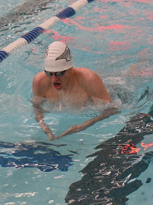 Richard Dauksher, a sophomore for Fossil Ridge, competes in the 200 yard IM at the city meet.
