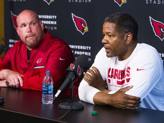 Cardinals General Manager Steve Keim (left) and coach