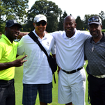 left to right: Jazz musician Michael Phillips, NBA player John Starks, former NBA player Gus Williams and Harry St. John.
