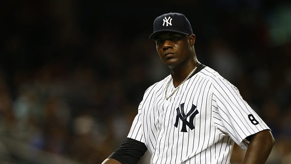 Pitcher Michael Pineda #35 of the New York Yankees walks off the mound after the sixth inning against the Chicago White Sox during a MLB baseball game at Yankee Stadium on September 24, 2015 in the Bronx borough of New York City. The Yankees defeated the Withe Sox 3-2.