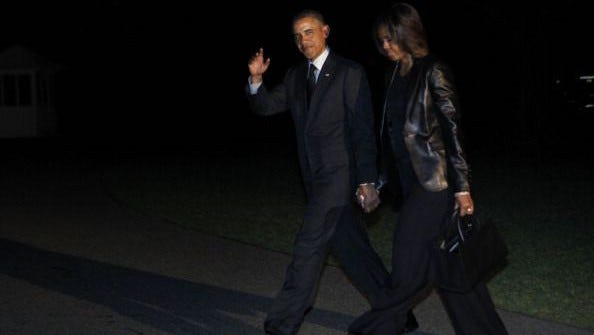 The Obamas in New York on Friday.