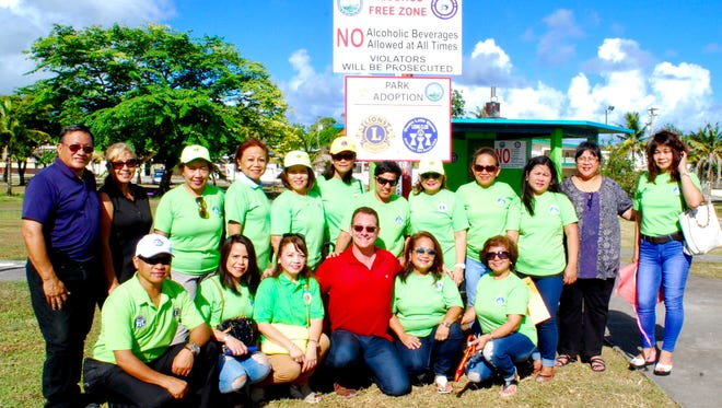 The Guam Latte Stone Lions Club, in partnership with the Dededo Mayors office and the Islandwide Beautification Task Force, unveiled their park adoption sign at Lencho Park in Dededo on June 11. Pictured are members of the Guam Latte Stone Lions Club with Lt. Gov. Ray Tenorio.