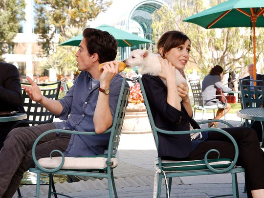 """This image released by NBC shows Ben Feldman, left, and Cristin Milioti in a scene from """"A TO Z,"""" premiering Oct. 2. (AP Photo/NBC, Trae Patton)"""