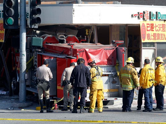 California firetruck crash