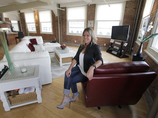 Joy Zambito oftens works from her Temple Building loft apartment in downtown Rochester.