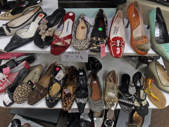 Shoes on display at the Deja Vu Consignment Boutique in Port Chester May 21, 2014.