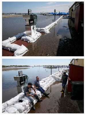 The above image was take April, 21 and the bottom photos was taken May, 16 at Arney's Marina in Sodus Point. Rising lake waters have kept the staff at the Marina busy building a mote around the building and maintaining  pumps to keep the business dry.