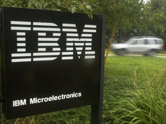 A car exits IBM's Essex Junction plant