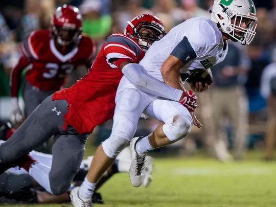 Luverne's Arian Gregory tackles Brantley's Parker Driggers