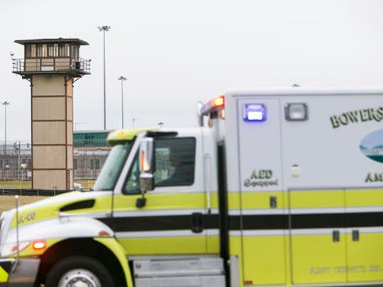 More ambulances arrive on scene as all Delaware prisons went on lockdown Wednesday, Feb. 1, 2017,  due to a hostage situation unfolding at the James T. Vaughn Correctional Center in Smyrna. Geoffrey Klopp, president of the Correctional Officers Association of Delaware, said he had been told by the Department of Correction commissioner that prison guards had been taken hostage.
