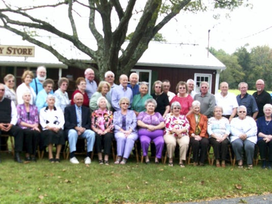 Biglerville Class of 1960: The class held its 55th reunion luncheon recently at Hickory Bridge. Class members who attended are shown, front row, Jane Trostel Waddell, Eddie Diveley, Pauline Blackwell Shultz, Teachers Ann and Clair Settle, Teacher Peg Lady, Nancy Sheaffer Cline, Nancy Ditzler Tyler, Donna Taylor Taylor, Pam Wolff Wagner, Ann Kuykendall Barbour, Charlotte Fitzwater Flook, Kass Rider, Teacher Harold Sanders; back row, Jessie Taylor, Betty Sillik Chronister, Judith Weigle Wetzel, Nancy Wenk Genovese, Bill McCleaf, Marian Guise, Miriam Guise Crouse, Judy Taylor Harman, Bill Hale, Martha Shreve Sillik, Gerald Cutshall, Jack Frantz, Donald McCauslin, Sarah Livingston Linch, Catherine Feeser, Donald Sillik, Connie Hostetter Altice, Wayne Schwartz, Randy Snyder, George Flook, Larry Guise, Larry Eckenrode, Vance Johnston, Dennis Donharl. Not pictured are: Tom Cline, Elizabeth Cutshall, Peg Diveley, Rose Donharl, Yvonne Eckenrode, Avis Guise, Diane Hale, Luther Harman, Jane Johnston, Steve Linch, Erma McCauslin, Linda McCleaf, Nancy Schwartz, Laverne Shultz, Linda Snyder, Donald Waddell, Gary Wagner, Wendall Wetzel.