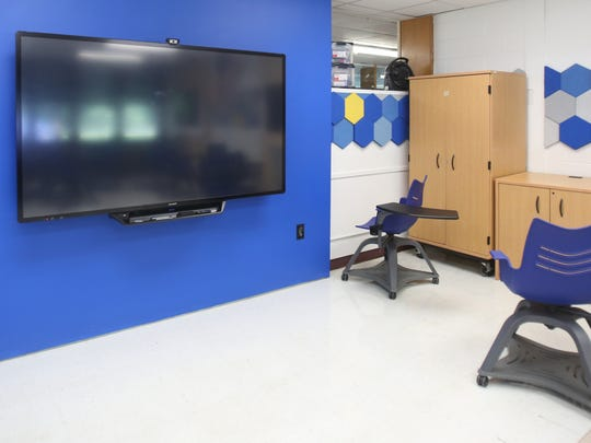 Rye Neck schools began changing some of their learning spaces before the start of the 2017-18 school year. This is a view of a new classroom at the middle-high school campus with movable chairs and touch screen monitors.