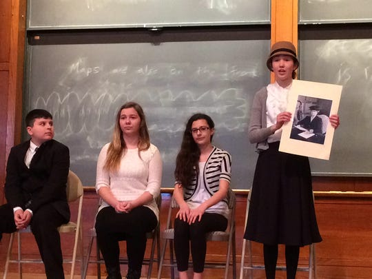 """Readington Middle School students have qualified for the National History Day State Competition. Left to right: Patrick Hanrahan, Amanda Fischer, Allison Vandal, and Maya Montell presented """"Eleanor Roosevelt: We All Have Legacies"""" during a regional competition at Princeton University."""