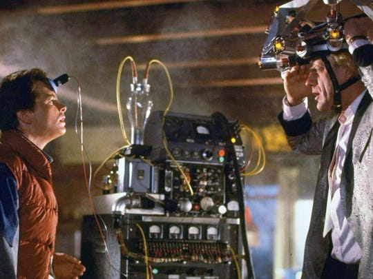 "Michael J. Fox, left, and Christopher Lloyd in ""Back to the Future."""