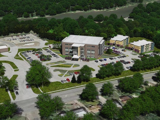 This architect's rendering shows how a new outpatient mental-health center would look at Broadlawns Medical Center. The main hospital is to the left. The new building also would house dentistry, pain-relief and family medicine programs.