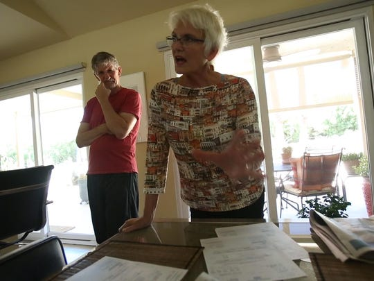 Lani Miller and George Gust talk about the water savings they've achieved at their Palm Springs home on July 16, 2015.