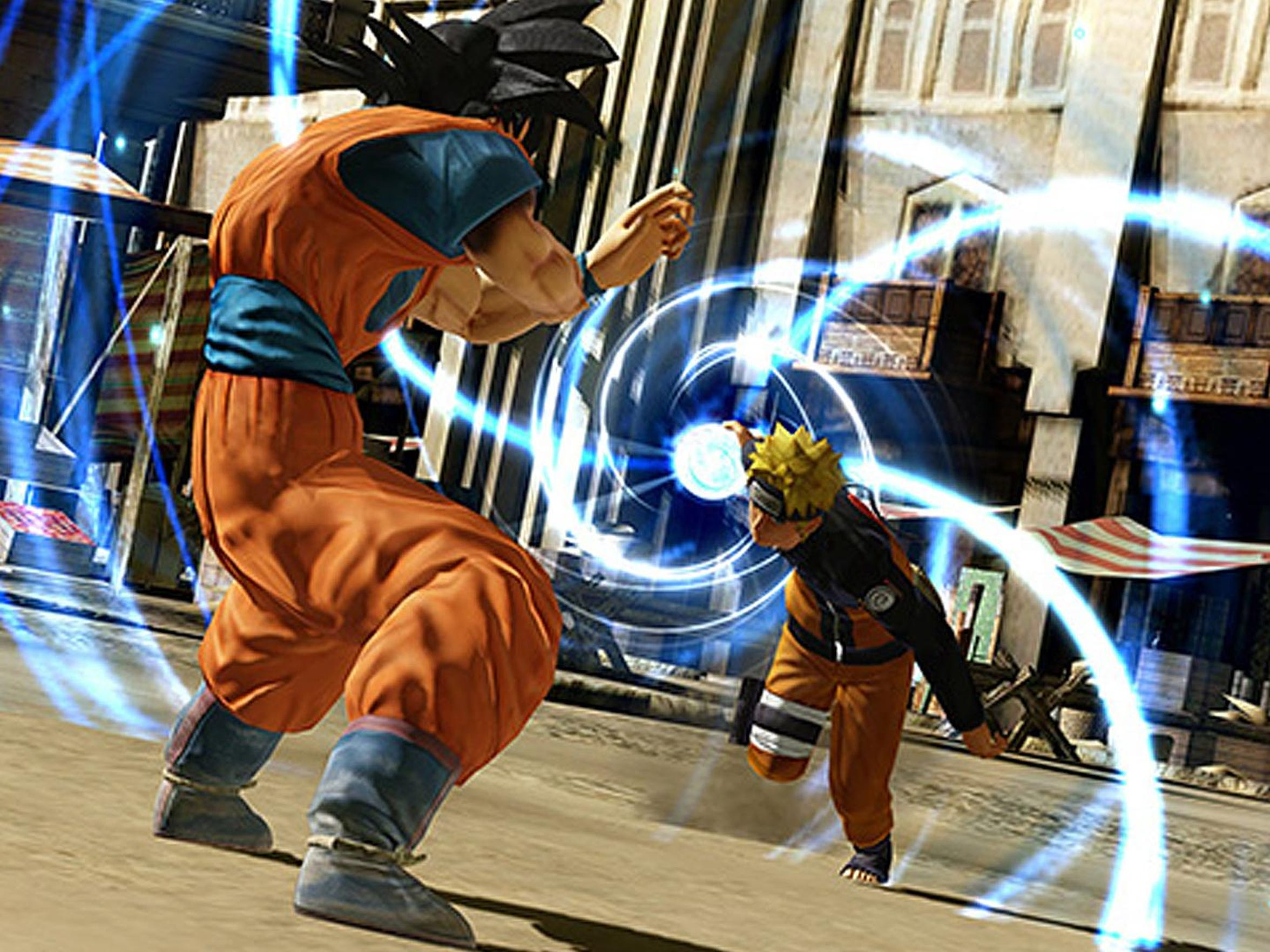 J-Stars Victory VS+ features 3D brawling between characters such as Goku and Naruto from various Japanese manga.